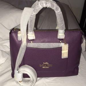 Purple leather coach bag